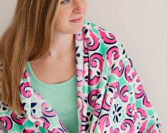 monogrammed throw, Monogrammed Mia Tile Throw Blanket - Personalized Throw Blanket - Mia Tile Throw Blanket - Monogrammed Throw Blanket