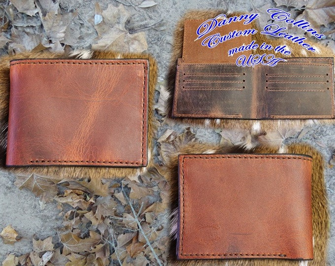 Leather Bifold wallet with ID, Leather Bifold, Mens Wallet