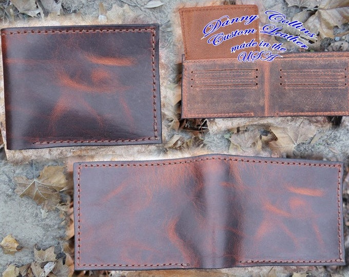 Bison wallet with ID, Leather bifold wallet, Mens Leather Bifold