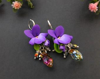 Violet drop earrings, Flower jewelry, Unique earrings Silver, Polymer clay jewelry, Deep Purple, Crystal earring, Woodland, Natural jewelry