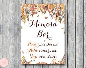 Autumn Fall Mimosa Bar Sign, Bubbly Bar Sign, Wedding Bar Sign, Printable, Wedding Decoration Sign, Engagement Party Mimosa WD84 TH47
