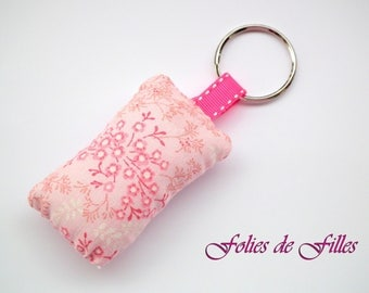 Key chain pink floral fabric pillow