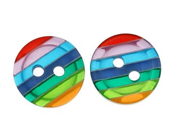 set of 4 Rainbow buttons