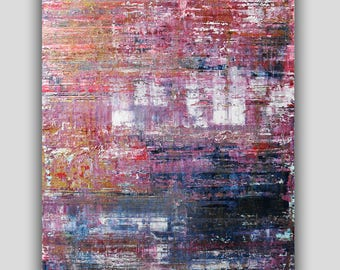 Abstract Painting Gold Pink Blue Modern Fine Art Textured Painting Abstract Landscape Painting Pink Painting Wall Hanging Original Painting
