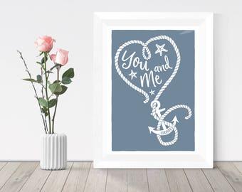Valentines gift, nautical heart with anchor print, beach theme coastal print, gift for boyfriend, print for girlfriend