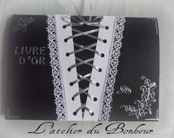 black and white soft Gothic color guest book