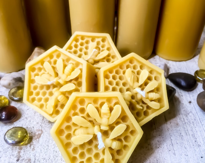 Set of 4 Pure Beeswax Honeycomb w/3 honeybees Floating Extra large votives. Natural Honey or Heilala Vanilla scented