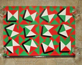 Vintage Sequences Bruce Blackburn One Eight Zero Cube Simpson Graphic Art Poster Lithograph Print Geometric Red White Green Retro