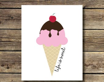 8x10 print - Ice Cream - Life is Sweet - Pink Ice Cream with chocolate sauce and a cherry on top - INSTANT DIGITAL DOWNLOAD