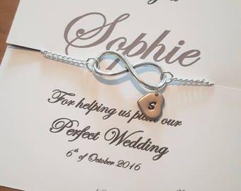 Bridesmaid bracelet, bridesmaid gift, thank you bridesmaid, bridal party jewellery, bridesmaid, bridesmaid jewellery, infinity bracelet,love