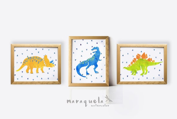 DINOSAURS SET, 3 illustration for kids, child, baby, newborns. Print ,Nursery ,colorful, art, animals, dinosaur, baby boys, decoration, art