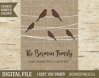 Gift for Family, Family Tree Print, Family Art, Family Sign, Personalized Family Tree, Birds on a Wire, Family Bird Print, DIGITAL FILE
