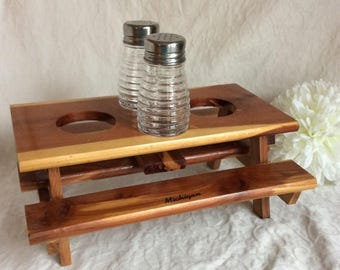 Fall Sale 1970's Vintage cedar wood picnic table condiment centre. Hand made item in Michigan.
