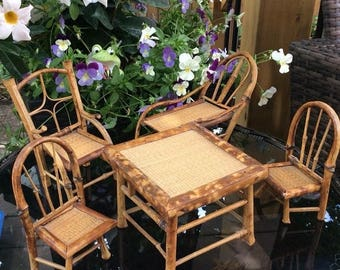 fall sale mid century bamboo dollhouse garden furniture set 5 piece table chairs and