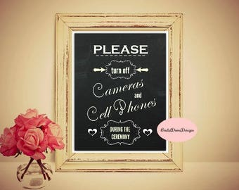 Chalkboard Unplugged Ceremony Sign, 11x14, No Cameras & Cell Phones Sign, Unplugged Wedding Sign, PRINTABLE Unplugged Sign, CUS2