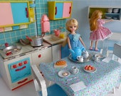 Reservd for Ria - FUCHS DOLL KITCHEN with Mid Century styling for all 7-10in/16-23cm dolls like Licca Chan, Lottie