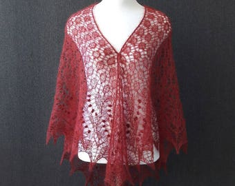 Knitted wine shawl Hand knit lace shawl wine color Shawl and wraps Wedding shawl Bridal shawl