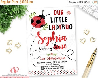 ON SALE Ladybug, Lady bug Invite, Ladybug Birthday Invitation, Ladybug Party, 1st Birthday invitation, Red & black Polka dot, Watercolor, Pr