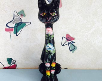 Kitsch - Black - Folk Art Decorated - Cat