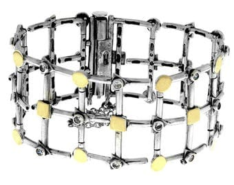 Sterling Silver and Gold Bracelet, Clear CZ Bracelet, handmade