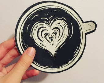 Latte heart Sticker. Coffee laptop Sticker. Coffee Decal. Cappuccino Sticker. Latte Art. Coffee lover. Barista.