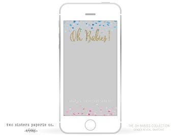 Twins Gender Reveal Snapchat Filter - Twins Reveal Geofilter - Gender Reveal Snapchat Filter - Oh Babies Snapchat Geofilter