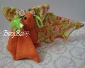 Orange and Green Baby Bat Plush
