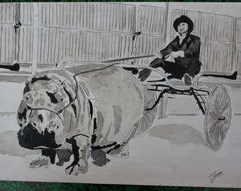 """drawing painting series """"the Hippo race"""" paris ink A3"""