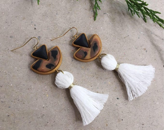 SAILOR DROP EARRINGS// Geometric tortoise shell, black and white tassel drop earrings//  Statement art deco tassel drop earrings// #DE2025B