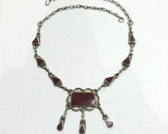 Vintage Boho Ethnic Tribal Silver & Resin Carnelian Necklace