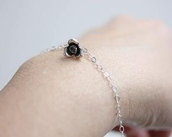 Rose bracelet,Floral Bracelet,Silver Rose Bracelet,Rose flower Bracelet,Gifts for Her,Bridesmaid Bracelet,Floral Jewelry