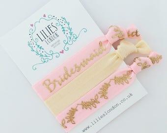 Bridesmaid hair ties, pink hairbands, bridesmaid proposal, elastic bracelets, hair-tie gift set, pretty hairbands, cute gift idea, wedding