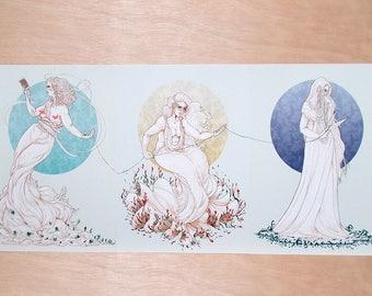 3 Fates, Greek Mythology, A4 Print