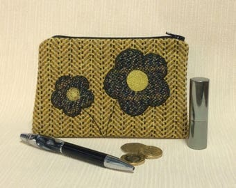 Welsh tweed zipped coin purse/change purse in yellow with dark tweed appliqued flowers