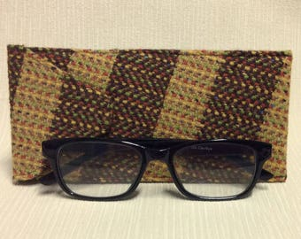 Welsh tweed glasses/spectacles case in yellow & brown stripe with multi coloured weave