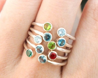 Dual Birthstone Ring • Couples Birthstone Ring • Dainty Birthstone Ring • Personalized Ring • Custom Birthstone Ring • Mom Gifts • RH05