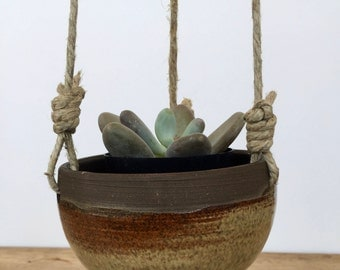 Brian ad yellow ceramic hanging planter for succulent or cactus glazed in green. Hanging planter.