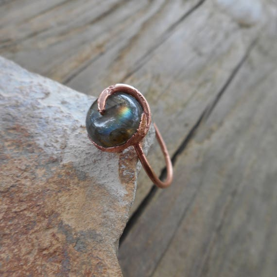 Labradorite Copper Ring - Stackable Labradorite Ring - Blue Labradorite - Golden Labradorite