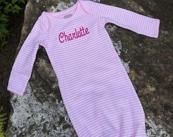 Baby Gown Sleeper - Personalized Baby Gown Sleeper - mud pie - Monogrammed Sleeper - Baby Girl Pink stripped