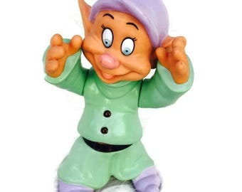"Vintage ""Dopey"" Snow White and the Seven Dwarfs Plastic Standing 5"" Figurine, Made in Thailand"