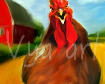 Rooster Art Rooster Painting Rooster Art print chicken art Rooster decor rooster print rooster kitchen decor chicken print chicken decor