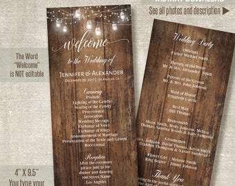Wedding Program, Printable Wedding Templates, Rustic Wedding program, Self Editable PDF template A203