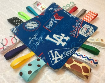 LA Dodgers Crinkle Sensory Toy, Tag blanket, Tag Toy, Crinkle Tag Toy, Baseball Tag Toy