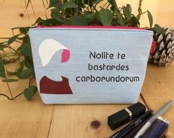 NEW! Handmaid's Tale 'Nolite Te Bastardes Carborundorum' Flat Bottom Pencil Case Zipper Pouch Makeup Bag