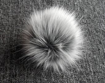 Size M (light grey tips -dark base) faux fur pom pom 5 inches/ 12cm