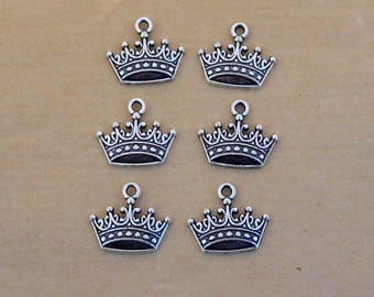 LOT 6 Crown King Queen Princess 17x15mm silver charm