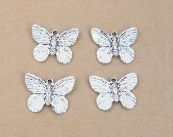 lot 4 vintage 18mm silver Butterfly charm