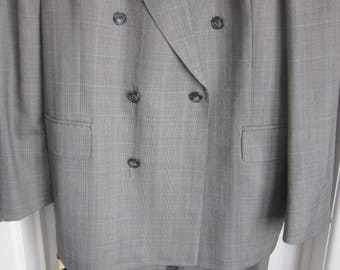 42/34 Vintage Austin Reed double-breasted Checked suit MADE IN ENGLAND great condition