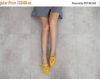 SALE Yellow mules, women mules, women shoes, women sandals, yellow shoes, flat mules, flat shoes, women flat shoes, leather shoes. Lia model