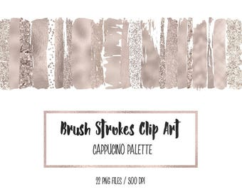 Brush strokes clipart, cappucino paint element, foil strokes, cappucino brush smudge, glitter confetti, mettalic, download
